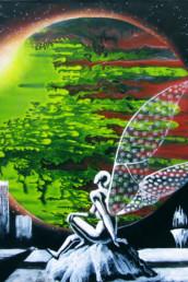 Le rêve du robot - Acrylique sur toile
