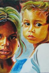 Enfants indiens - acrylique sur toile
