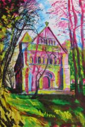 Eglise de Thaon en Normandie - Acrylique sur toile