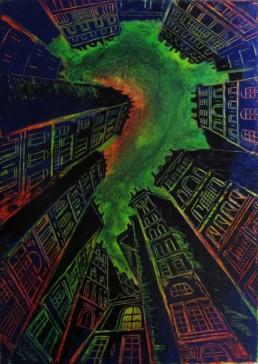 Nuit mystérieuse - Huile sur toile