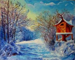 Sentier sous la neige - Huile sur toile